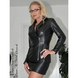 Leather blazer DS-600 black