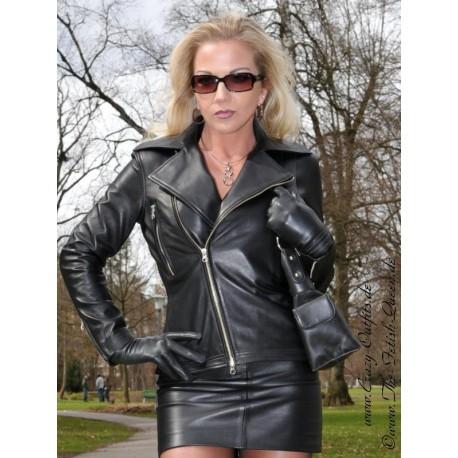 Leather jacket DS-606 black