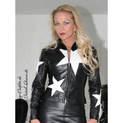 Leather jacket DS-618 black/white