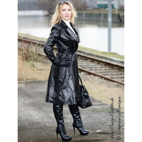 Leather coat DS-624 black