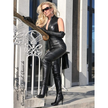 Leather catsuit DS-700 black