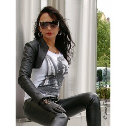 Leather bolero SJW-017 black