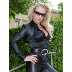 Leather bolero SJW-018 black